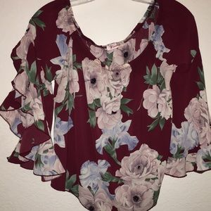 Off the shoulder flower crop top